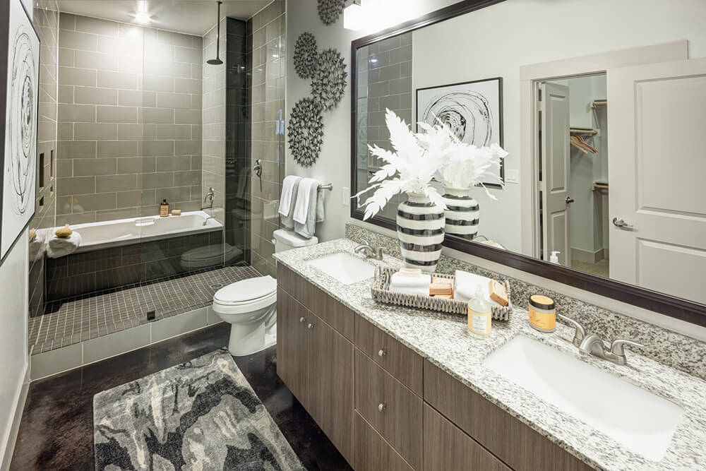 Brown alexan driftwood tiger skin multi family bathroom vanity cabinets with quartz countertops